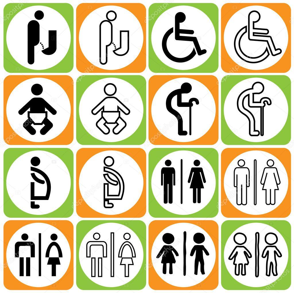 Tamano Baño Minusvalidos:estilo moderno de baño colorido cartel con bebé, hombres, mujeres