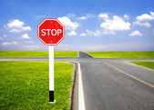 Stop traffic sign pole — Stock Photo