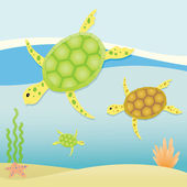 Sea Turtles — Stock Vector