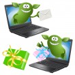 Royalty-Free Stock Vector Image: Computer, green monsters, writing, gift