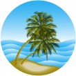 Vector illustration of a sea landscape with a palm tree — Stock Vector #26821315