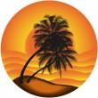 Vector illustration of a sea landscape with a palm tree — Stock Vector #26821319