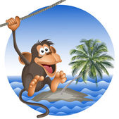 Tropical beach with a palm tree and the ridiculous monkey — Stock Vector