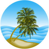 Vector illustration of a sea landscape with a palm tree — Stock Vector