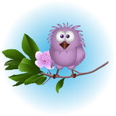 Birdie on a tree — Stock Vector