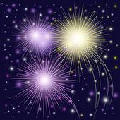 Beautiful multi-colored fireworks — Stock Vector