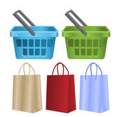 Baskets and packages for purchases — Stock Vector