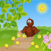 Chicken family — Stockvector