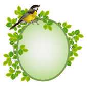 Beautiful frame in a frame of foliage with a bird — Stock Vector