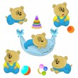 Cute little bear cubs — Stock Vector