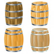Stock Vector: Wooden barrel of