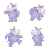 Funny Hippo in different poses — Stock Vector