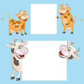 Funny cow with posters — Stockvektor