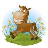 Cavallo divertente sulla natura — Vettoriale Stock