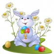 Amusing rabbit with Easter eggs — Stock Vector