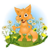 Cheerful young fox on a glade — Stock Vector