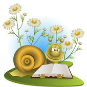 Snail on a glade with camomiles — Vector de stock