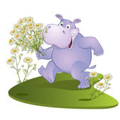 Hippopotamus with a bouquet of camomiles — Stock Vector