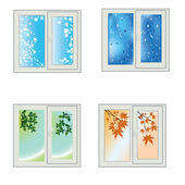 Window seasons — Stock Vector