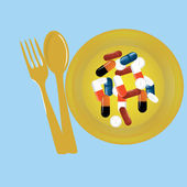 Tablets pills on the plate — Stock Vector