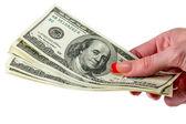 Money in human hand — Stock Photo
