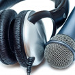 Mic and headphones  — Stock Photo