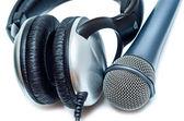 Mikrofon ve kulaklık — Stok fotoğraf