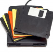 External usb floppy disk drive with disks — Stock fotografie