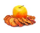 Fresh apple between apple slices — Foto de Stock