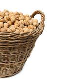 Walnuts in wicker basket isolated — Stock Photo