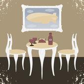 обеденный зал в стиле ретро — Cтоковый вектор