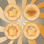 Badges with cupcakes — Vetor de Stock
