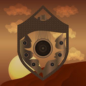 Abstract shield on desert background — Vecteur