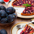 Tart with plums — Stock Photo