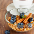 Granola with blueberry and cinnamon — Stock Photo
