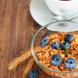 Granola with blueberry — Stock Photo