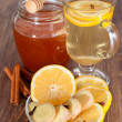 Hot ginger lemon tea and honey — Stock Photo #32144603