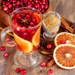 Hot mulled wine with cranberries and orange — Stok fotoğraf