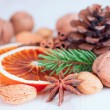 Different kinds of nuts, spices and dried oranges — Stock Photo
