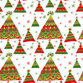 Pattern with Christmas trees, color gamma red and green — Stock Vector