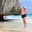 Stock Photo: Girl running on beach
