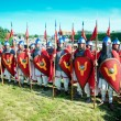 Stock Photo: Troop of medieval knights in full armor