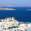 Five windmills in Mykonos — Stock Photo