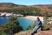 Tourist in Acadia national park — Stock Photo
