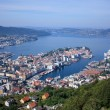 Bergen harbor and Byfjorden fjord — Stock Photo