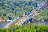Metro bridge across river Dnipro in Kiev — Stock Photo