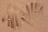 Honeymooners handprints — Stock Photo