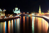 Moscow River with the kremlin lights reflecting at night — Stock Photo