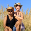 Farmer and his girlfriend — Stock Photo