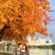 Love couple in autumn — Stock Photo